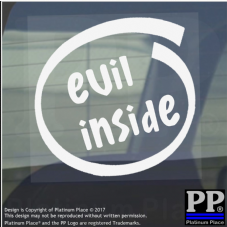 1 x Evil Inside-Window,Car,Van,Sticker,Sign,Vehicle,Halloween,Scary,Ghost,Devil